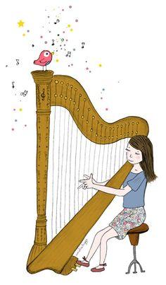 Harpe 2d Design, Kids Stickers, Busy Book, Print Ads, Christmas And New Year, Female Art, Art Pieces, Aurora Sleeping Beauty, Fine Art