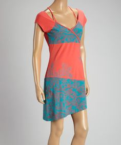 Coral & Teal Arabesque Cap-Sleeve Dress - Women & Plus by Coline USA #zulily #zulilyfinds