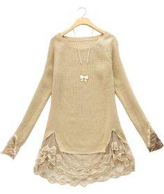 Sewing Idea - Lace  Ribbon Hem  Cuffs - www.SheInside.com - Shown: Beige Long Sleeve Contrast Lace Pullovers Sweater $32.00 (Cheap! ! !)