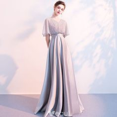 Stunning Grey Evening Dresses With Shawl 2018 Empire V-Neck Beading Floor-Length / Long Ruffle Backless Formal Dresses - Strapless Wedding Dresses Trendy Dresses, Elegant Dresses, Beautiful Dresses, Nice Dresses, Fashion Dresses, Stylish Outfits, Long Prom Gowns, Prom Dresses, Formal Dresses