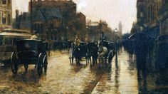 Frederick Childe Hassam (American 1859–1935) [Impressionism] Columbus Avenue Rainy Day, 1885.