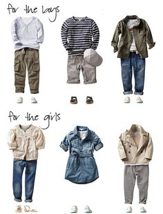These kids outfits would work well in just about any color scheme.