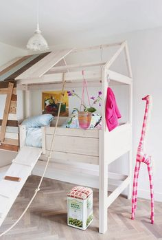 The 14 Most Creative Kids' Rooms You'll Ever See via Brit + Co. Treehouse Bed: Kids will have a blast in a bedroom-turned-treehouse. The bed is a work of art and the colorful extras are excellent. (via The Boo and the Boy) Casa Kids, Creative Kids Rooms, Big Girl Rooms, Kids Decor, Home Decor, Kid Spaces, Girls Bedroom, White Bedroom, Trendy Bedroom