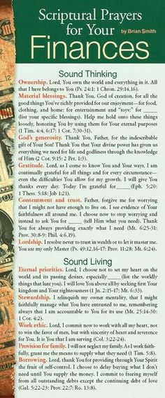 prayer for finances Looking for sound, Scripture-based prayers to pray in regard to your finances This card contains personal and passionate prayers related to sound thinking, living, giving, and investing. Prayer Times, Prayer Scriptures, Bible Prayers, Bible Verses, Prayer For You, Power Of Prayer, My Prayer, Prayers For Kids, Prayer For Wisdom