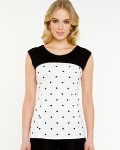 Le Château: Polka Dot Sleeveless Top, $49.95. Made in Canada