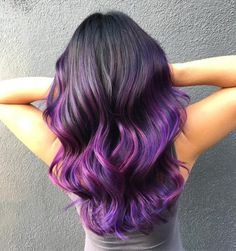 22 Stunning Purple Ombre Hair Color Ideas for 2020 Dark Ombre Hair, Purple Ombre, Best Ombre Hair, Blond Ombre, Dark Blonde Hair, Ombre Hair Color, Purple Hair, Color Streaks, Brown Hair With Caramel Highlights