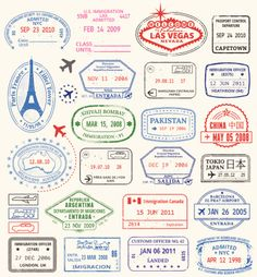 World Travel passport Stamps. A series of world travel stamps. This...