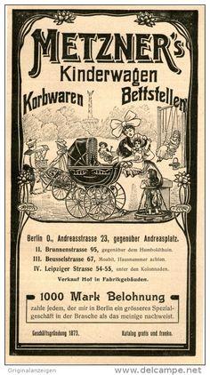 Original-Werbung/Inserat/ Anzeige 1907 - METZNER'S KINDERWAGEN ca.160 x 90 mm