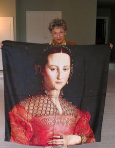 # Lifestyle - Catherine-Hélène Frei Von Auffenberg with favourite portrait printed on silk Exquisite as a throw or framed....