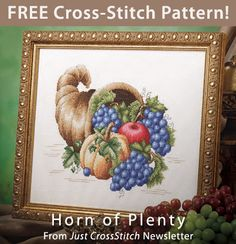 Horn of Plenty Download from Just CrossStitch Newsletter . Click on the photo to access the free pattern. Sign up for this free newsletter here: AnniesNewsletters.com