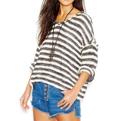 """Free People """"Spells Trouble"""" pullover Supper cute free people pullover. Only wore it 1-2 times still like new. Cream and black striped size S very loose fit. Sold out!!! Free People Tops Blouses"""