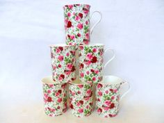 """Set of 6 China Mugs in Summertime design Heron Cross Pottery """"Abbeydale Collection"""" http://www.amazon.co.uk/dp/B00J7Y1YXC/ref=cm_sw_r_pi_dp_aF8vvb1TXDAGS"""