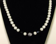 White necklace. Black necklace. White pearl by VsBeadDesigns