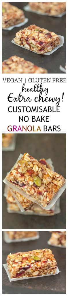 No Bake Customisable Granola Bars- Hands down, the most CHEWY and delicious granola bar you'll ever make which requires NO baking! Vegan, gluten free, dairy free and refined sugar free, they are perfectly customisable- A great grab Dairy Free Recipes, Raw Food Recipes, Vegetarian Recipes, Snack Recipes, Healthy Recipes, Gluten Free, Beef Recipes, Healthy Bars, Healthy Sweets
