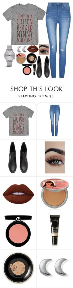 """""""Untitled #8187"""" by gabriellewidger ❤ liked on Polyvore featuring Lime Crime, TheBalm, Armani Beauty, Lancôme, Bare Escentuals, ChloBo and Komono"""