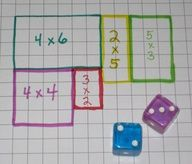 Area math game: Roll the dice and draw the area array. (Also a good way to build conceptual understanding of area being deconstructed into smaller rectangles - emphasized in common core standards)