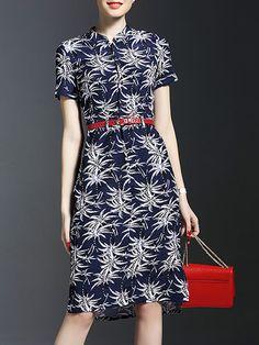Floral-print Ramie #Midi #Dress With Belt