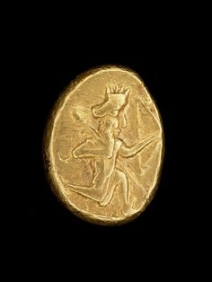 Oxus Treasure - Gold coin; daric with obverse showing running royal figure wearing serrated crown, carrying a bow and spear; rectangular punch mark on reverse.       Achaemenid - 5thC BC-4thC BC