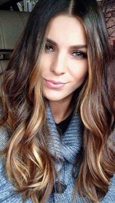 dark brown hair with caramel highlights by earline hair