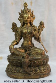 buddhist goddess tara | ... Tibetan Buddhist Bronze 24K Gold Gilt Green Tara Goddess Buddha Statue