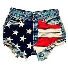 High Waisted Vintage American Flag Shorts ❤ liked on Polyvore featuring shorts, bottoms, pants, short, high rise jean shorts, short jean shorts, vintage high waisted shorts, high waisted jean shorts and high-waisted denim shorts