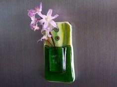 Green Glass Pocket Magnetic Vase by bprdesigns on Etsy, $12.00