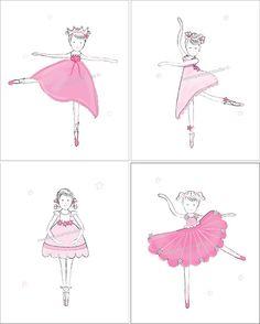 Ballerina Dancing Ballet Art Prints for by sweetpeasartstudio2, $20.99