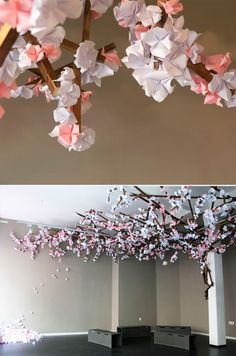 Do An Origami Installation In Store Like This Cherry Tree Or A Wave