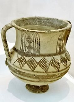 An unusually large Cypriot white ware pottery krater with geometric decoration, 1050-750 BC. North Carolina Museum of Art, Raleigh, Photo Credit: Clio Ancient Art