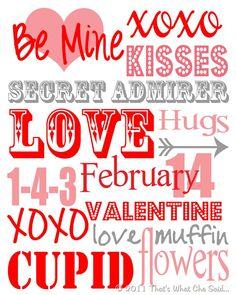 Valentine's Day Subway Art Printable