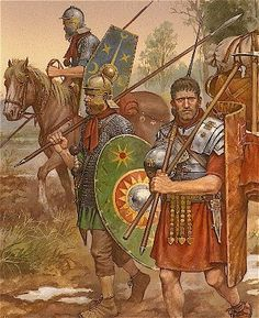 Fig. VIII – The Roman army in the time of Vitellius … Soldiers of Vitellius, another of the contenders for the emperor throne following Nero's death, IIRC, c. 100CE [Nicholas Subkov]
