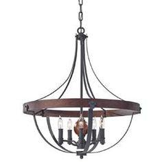 Feiss FEALSTON5 Alston 5Lt Chandelier Ceiling Light 5x60w Charcoal Brick & Acorn