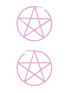 Large Pink Pentagram Hoop Earrings,