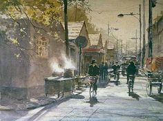 """Robert Wade   HERE ARE THE CORRECT COLOURS !!!!!!!!!!!  """"BEIJING MORNING"""" 18""""x14"""" 1994"""