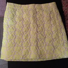 White and yellow pencil skirt White and yellow skirt with patched floral print. J. Crew Skirts