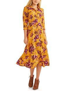 8c20c7b78a Time and Tru - Women s Button Up Maxi Dress - Walmart.com