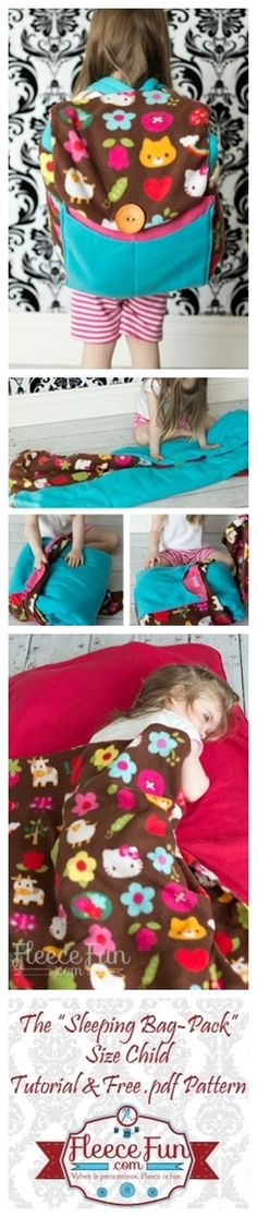 Perfect for kids sleepover ~ Pattern + Step by step instructions - Sleeping Bag Pack by Angel Hickman Peterson - FleeceFun
