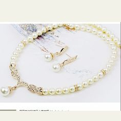 Cheap Fashion Imitation pearl necklace earrings bride wedding jewelry grain DC48SJ501 $12