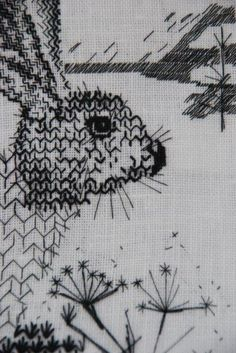 i love my blackwork rooster sampler! blackwork+rabbit Plus Blackwork Embroidery, Ribbon Embroidery, Embroidery Art, Cross Stitch Embroidery, Embroidery Patterns, Machine Embroidery, Textiles, Fabric Art, Graphic