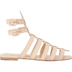 Christian Louboutin Neronna Flat Gladiator Sandals (2.640 BRL) ❤ liked on Polyvore featuring shoes, sandals, christian louboutin shoes, flat shoes, roman sandals, christian louboutin and christian louboutin sandals