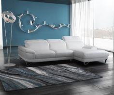 Canapé cuir blanc chaise longue Manhattan