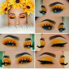 Pin on Mis 16 sara Glam Makeup, Cute Makeup, Pretty Makeup, Makeup Eye Looks, Eye Makeup Art, Eyeshadow Makeup, Nyx Lipstick, Yellow Makeup, Colorful Eye Makeup