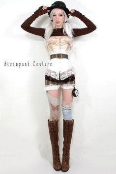 Steampunk Couture Kato Ivory corset, brown belt, high top boots, and stripped shorts