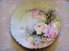 Rare Antique French Limoges Set of Hand Painted Artist Signed Floral Porcelain Plates