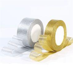 Handmade Gold and Silver Ribbon 25 Yard 22M Metallic Luster Wedding Christmas Decoration DIY Webbing Card Gift Wrapping