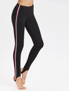 Online shopping for Striped Side Stirrup Leggings from a great selection of women's fashion clothing & more at MakeMeChic.COM.