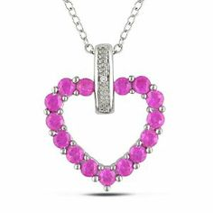Sterling Silver 1 1/3 CT TGW Created Pink Sapphire 0.004 CT TDW Diamond Heart Pendant (G-H, I3) Amour. $31.99