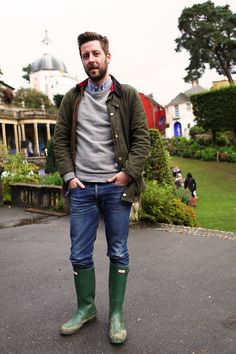 'Marcus enjoying Festival No.6 in his Barbour jackets and Hunter wellingtons.'