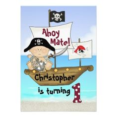 Cute Personalized Pirate 1st Birthday Party Invitations for Boys