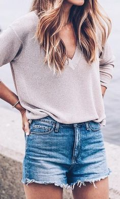 #fall #trending #outfits | Nude Sweater   Cut Offs